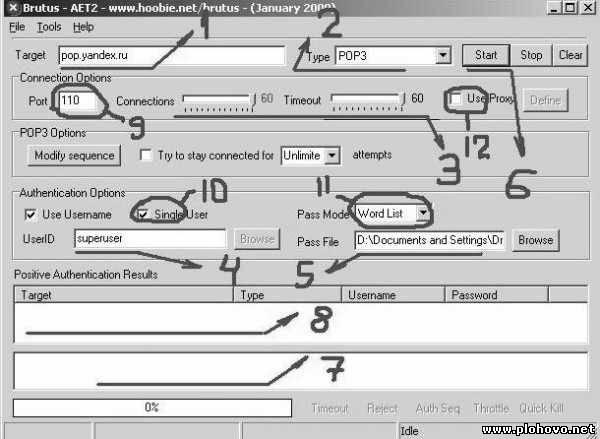 Скачать программу (Брут) или (Brutus AET2) - программа занимается перебором